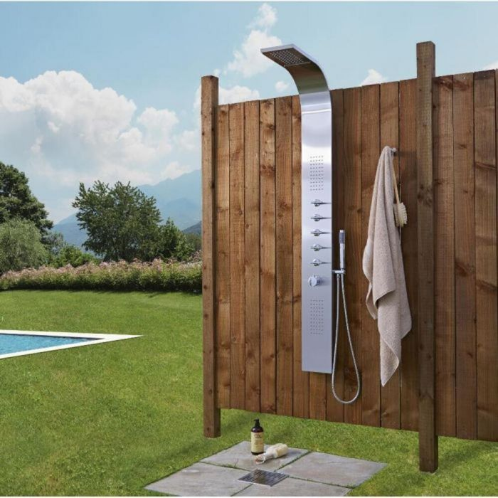 Outdoor Stainless Steel Shower Panel with Waterfall Head and Body Jets