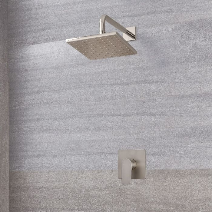 """Arcadia Brushed Nickel Shower System with 8"""" Shower Head"""