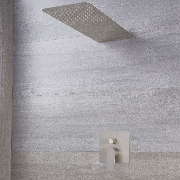 Eclipse Brushed Nickel Shower System with Multifunction Shower Head