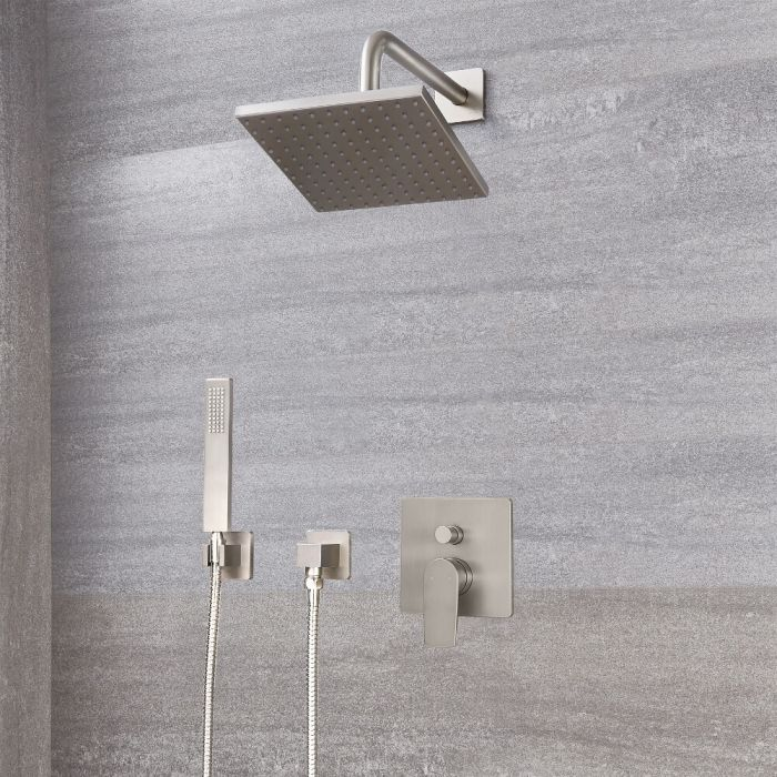 """Arcadia Brushed Nickel Shower System with 8"""" Shower Head and Handshower"""