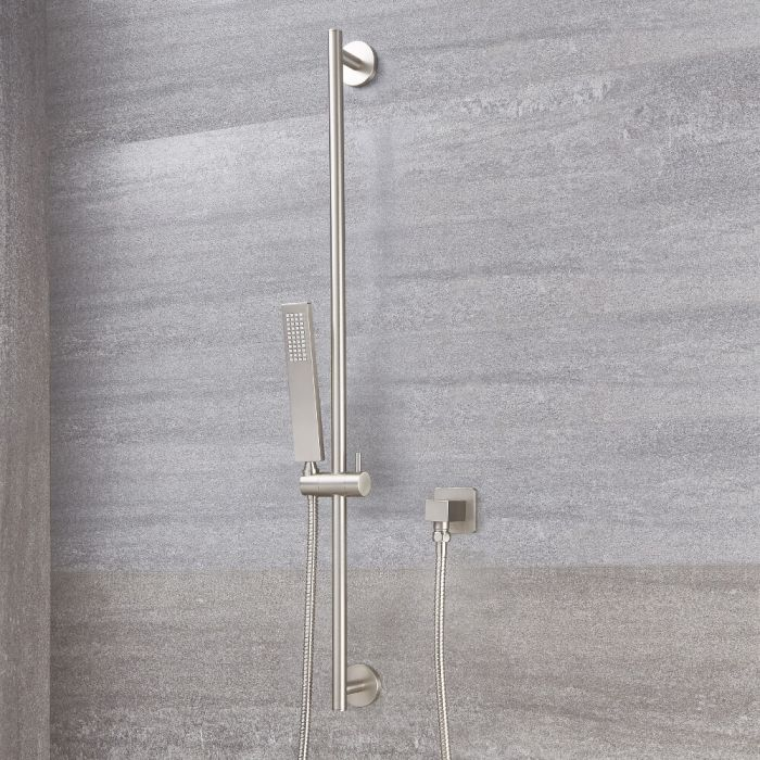 Arcadia Brushed Nickel Slider Rail Kit with Square Handset and Elbow