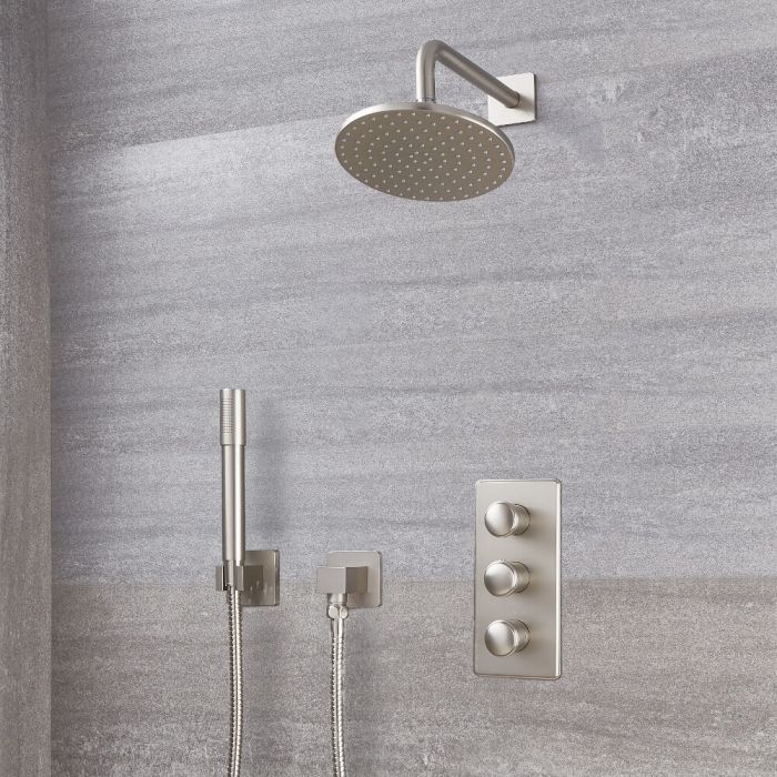 "Eclipse Thermostatic Brushed Nickel Shower System with 8"" Shower Head and Handshower"