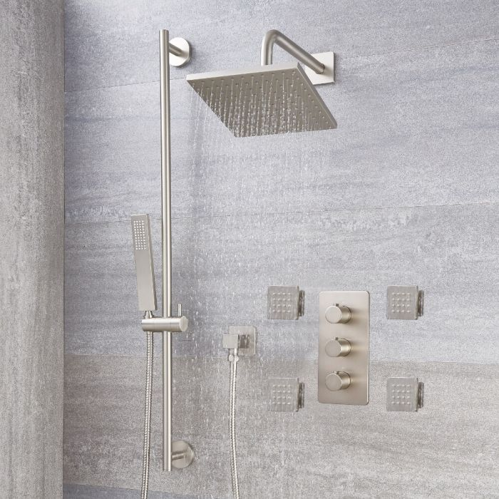 """Arcadia Thermostatic Brushed Nickel Shower System with 8"""" Shower Head, Slide Rail Kit and 4 Body Sprays"""