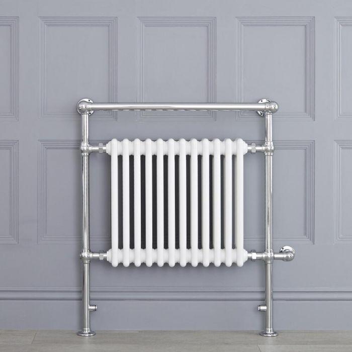 Aura 25 Curved Electric Towel Warmer Chrome White: White Traditional Heated Towel Warmer