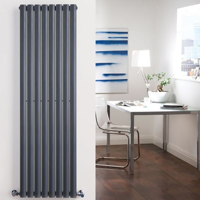 "Revive - Anthracite Vertical Double-Panel Designer Radiator - 70"" x 18.5"""