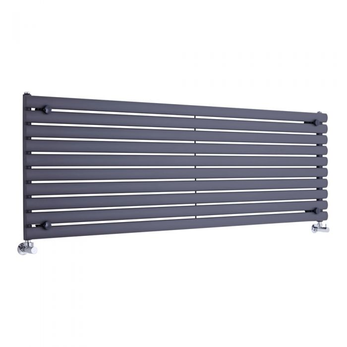 "Revive - Anthracite Horizontal Single-Panel Designer Radiator - 23.25"" x 70"""