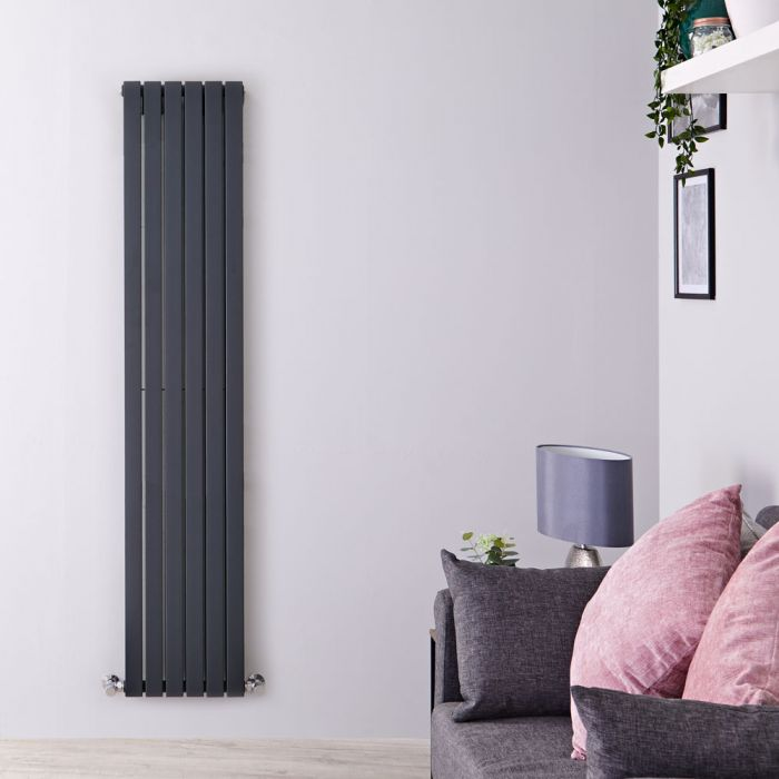 "Sloane - Anthracite Vertical Double Flat-Panel Designer Radiator - 70"" x 14"""
