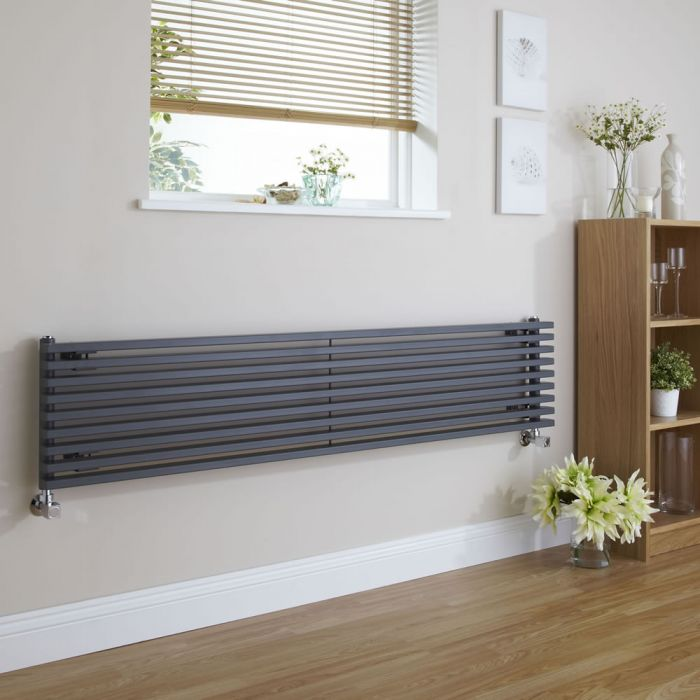 Fin - Anthracite Horizontal Single-Panel Designer Radiator - 13.5