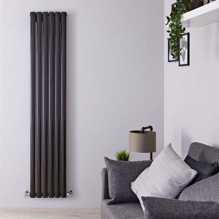 "Revive - Black Vertical Double-Panel Designer Radiator - 70"" x 14"""