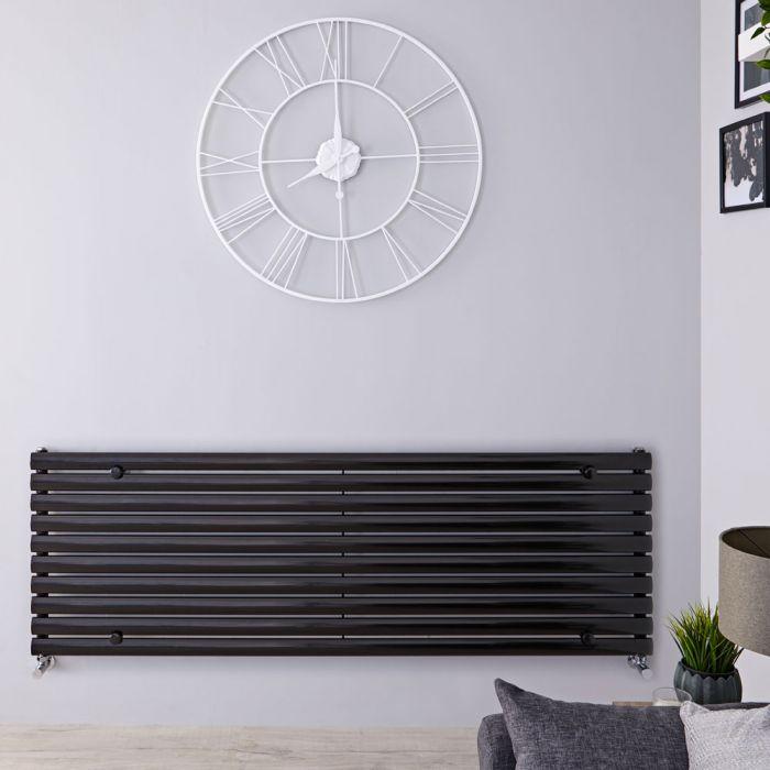 "Revive - Black Horizontal Single-Panel Designer Radiator - 23.25"" x 70"""