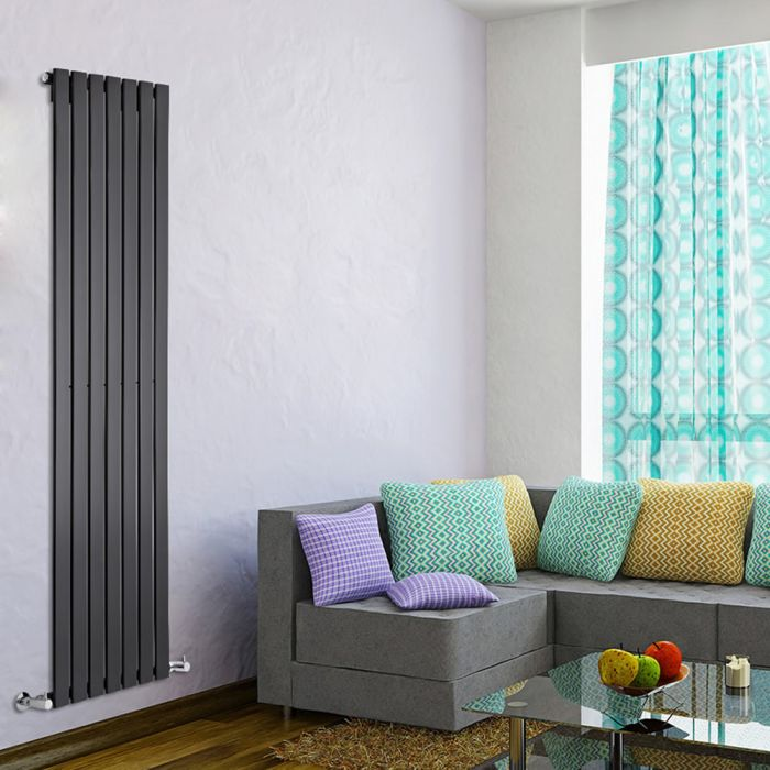 Delta - Black Vertical Single Slim-Panel Designer Radiator - 70