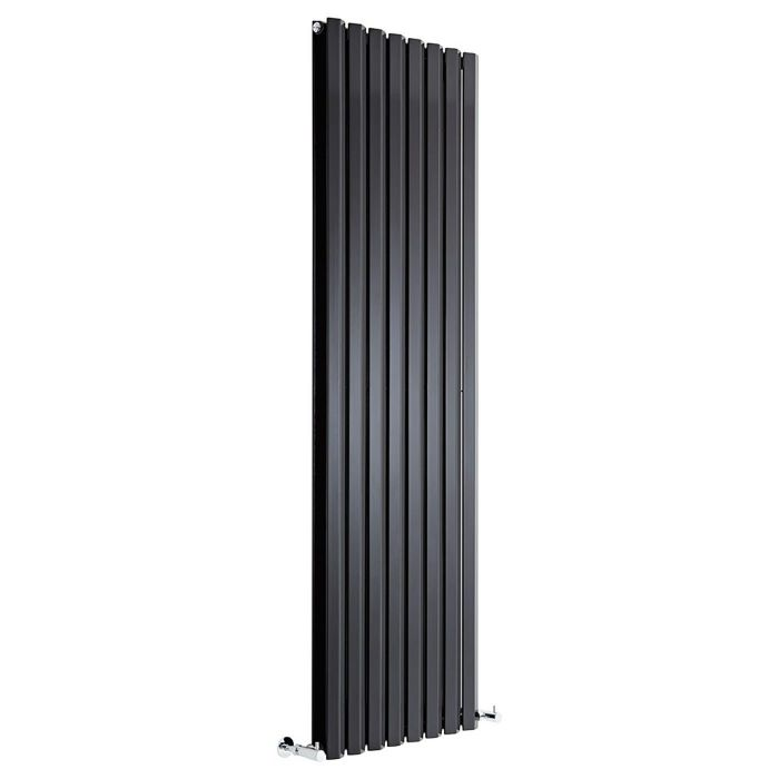 "Edifice - Black Vertical Double-Panel Designer Radiator - 70"" x 22"""