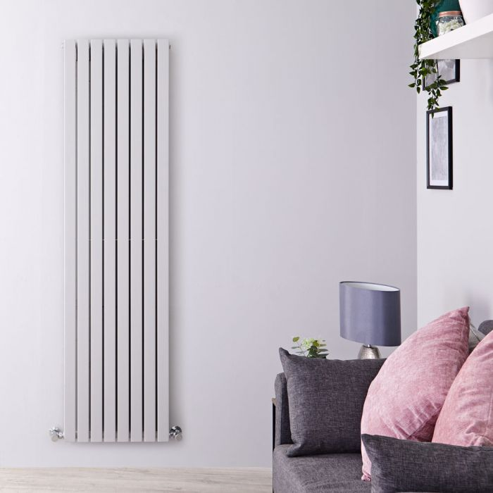 """Sloane - Light Gray Double Flat Panel Vertical Designer Radiator - 70"""" x 18.5"""""""