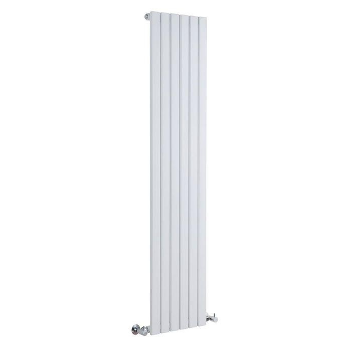 """Sloane - White Vertical Single Flat-Panel Designer Radiator - 70"""" x 14"""""""