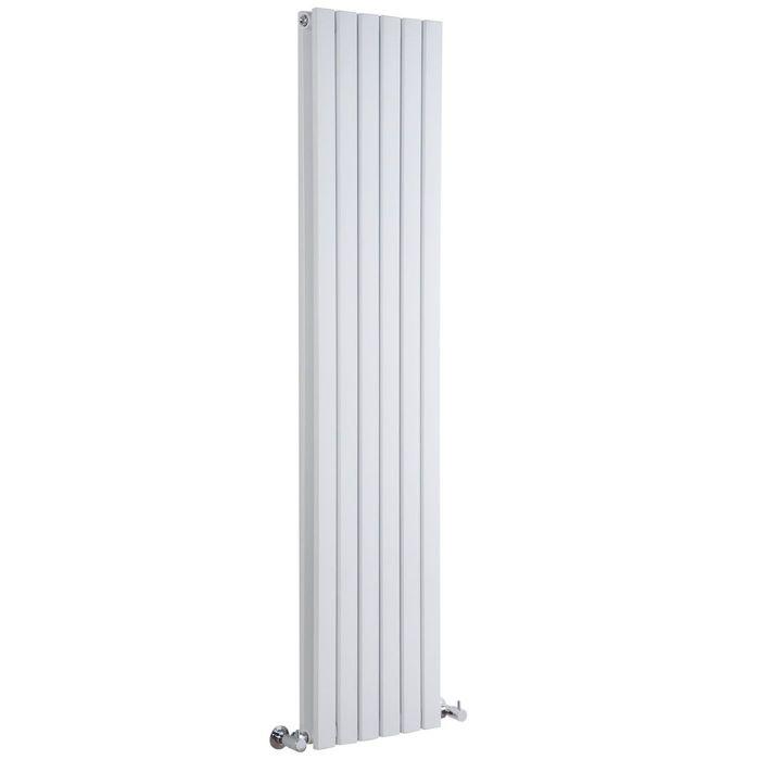 """Sloane - White Vertical Double Flat-Panel Designer Radiator - 70"""" x 14"""""""