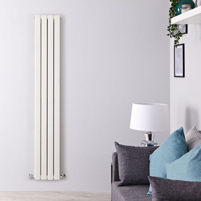 "Delta - White Vertical Double Slim-Panel Designer Radiator - 70"" x 11"""
