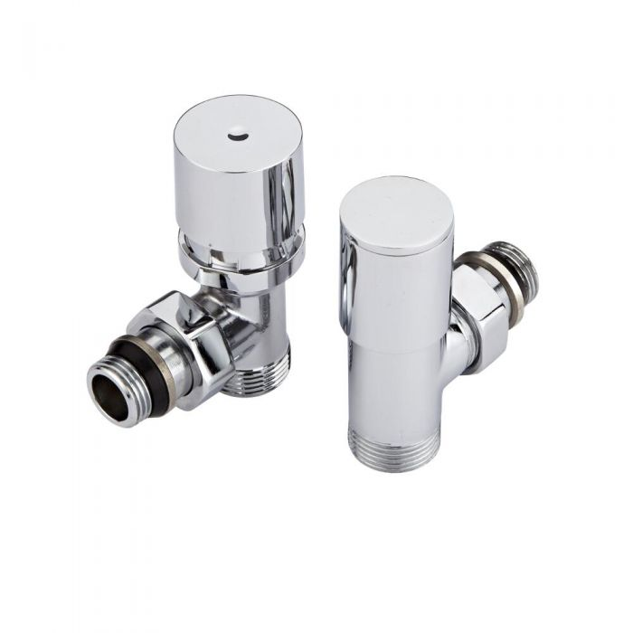 Hudson Reed Minimalist White Thermostatic Angled Radiator Valves (Pair)