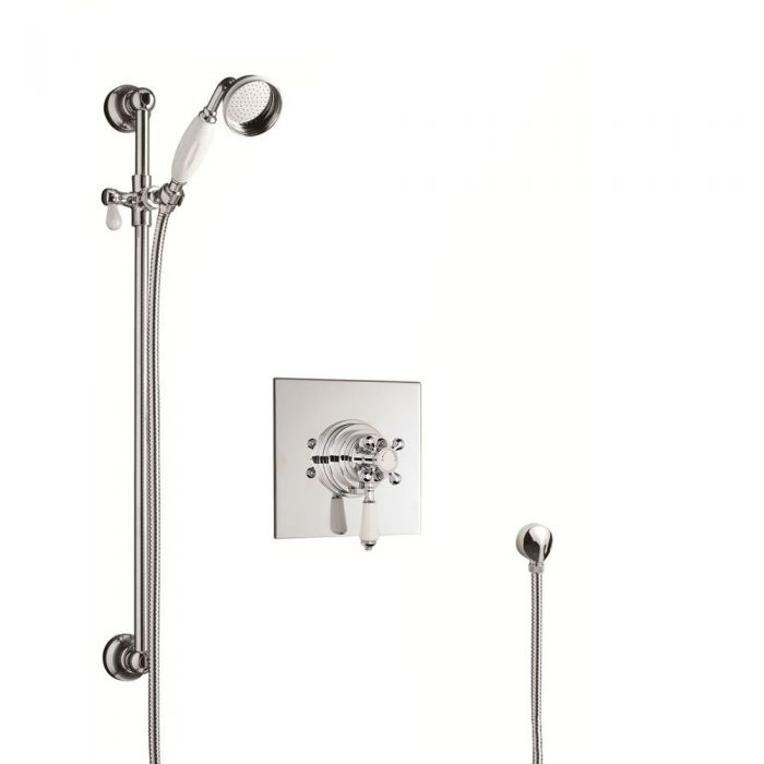 Traditional Thermostatic Shower Set with Concealed Shower Faucet & Traditional Slider Rail Kit