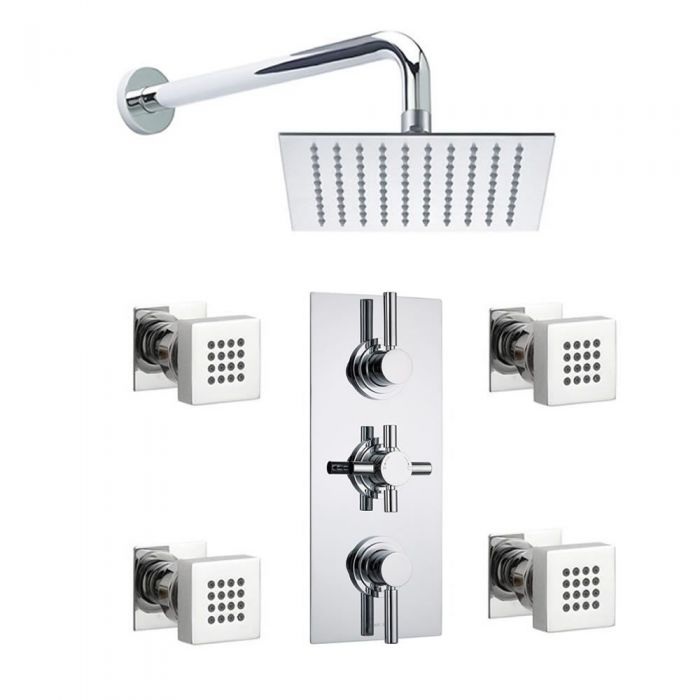 "Tec Pura Plus Concealed Thermostatic Shower Valve With 8"" Square Showerhead And 4 Square Body Jet"