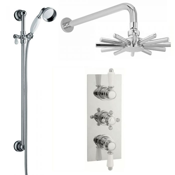 Traditional Thermostatic Shower Valve with Cloudburst Fixed Head and Slide Rail Kit