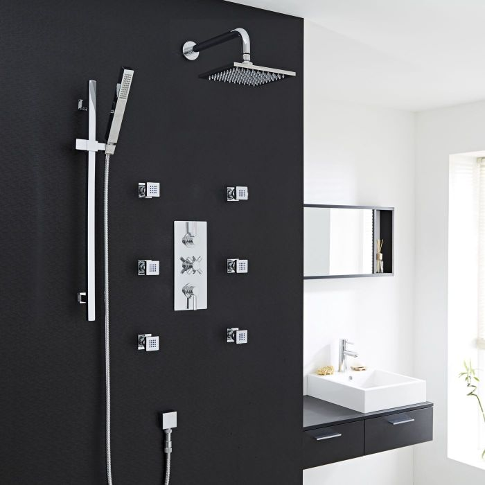Thermostatic Shower System with Curved Arm, Slider Rail & 6 Body Jets