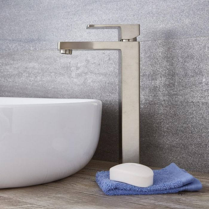 Kubix - Brushed Nickel Single-Hole Vessel Faucet