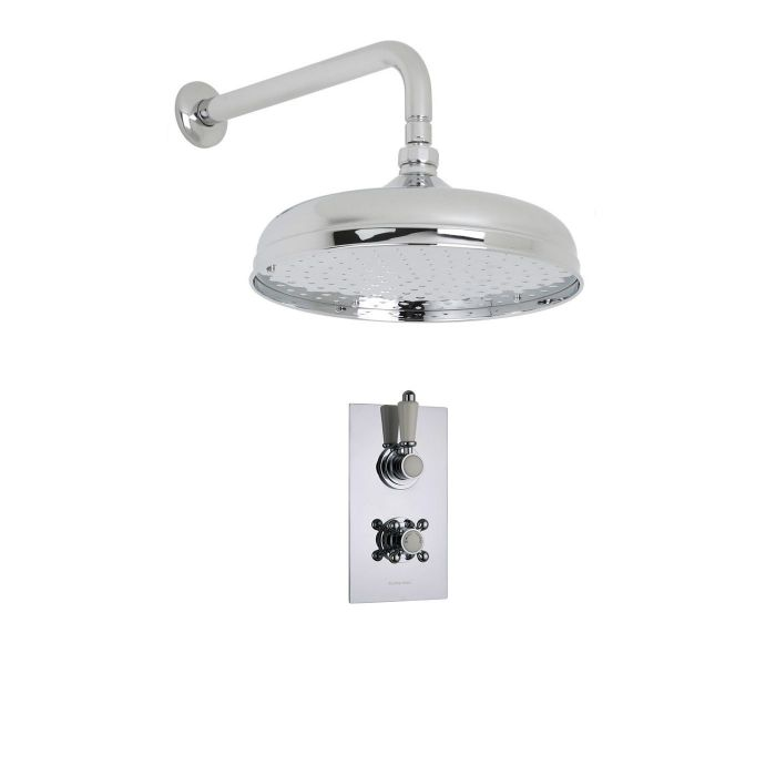 "Traditional Thermostatic 1 Outlet Shower System with 12"" Apron Head & Arm"