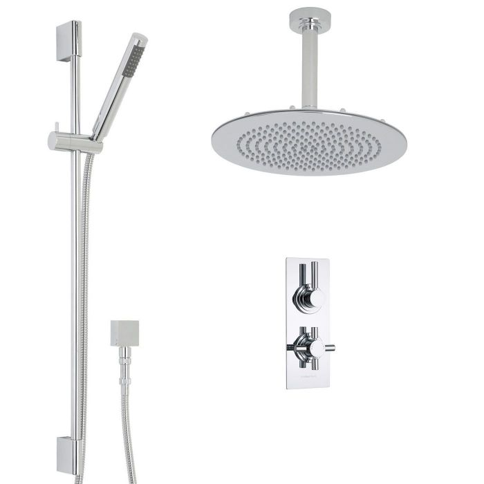 "Tec Thermostatic 2 Outlet Shower System with 12"" Round Ceiling Head & Handshower"