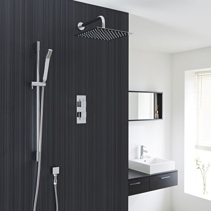 Square Thermostatic 2 Outlet Shower System with 12