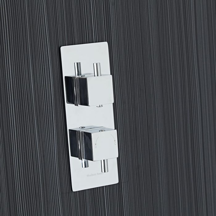 Square Concealed 2 Outlet Twin with Diverter Thermostatic Shower Valve (Slim Plate)