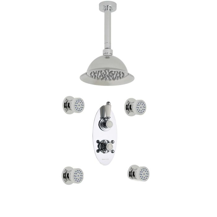 """Traditional Thermostatic 2 Outlet Shower System with 8"""" Rose with Ceiling Arm & 4 Round Jet Sprays"""