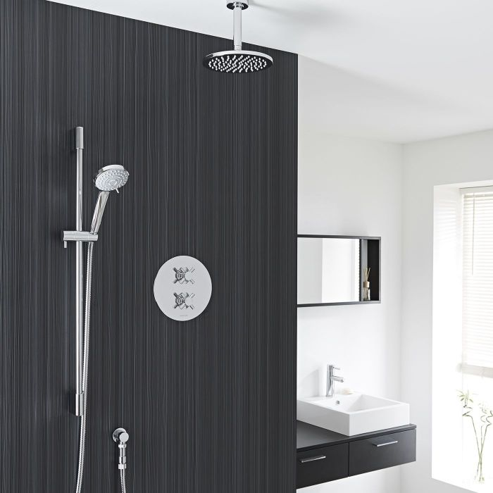 "Kristal Thermostatic 2 Outlet Shower System with Multi-Function Handshower & 8"" Ceiling Mounted Head"