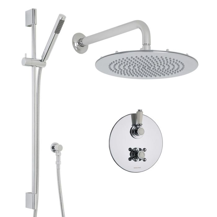 """Traditional Thermostatic 2 Outlet Shower System with 12"""" Round Head & Arm plus Handshower"""
