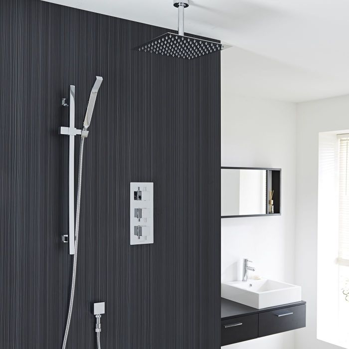 """Square Thermostatic Shower System with 12"""" Ceiling Head & Handshower"""