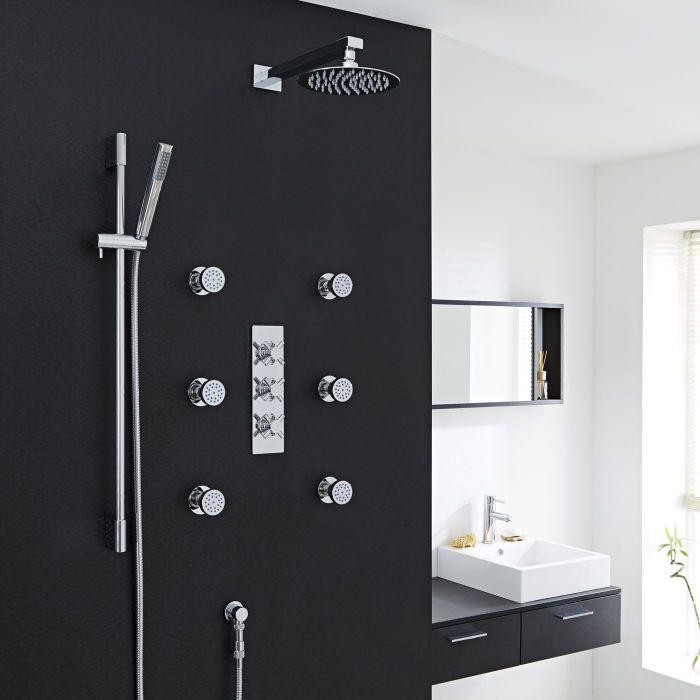 "Kristal Thermostatic Shower System with 8"" Head, Handshower & 6 Round Jet Sprays"