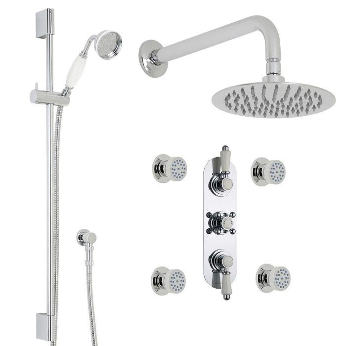 "Traditional Thermostatic Shower System with 8"" Round Head & Arm, Brass Handset & 4 Round Jet Sprays"