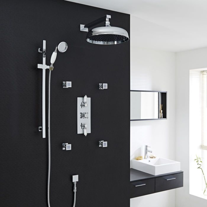 Traditional Thermostatic Shower System with 12