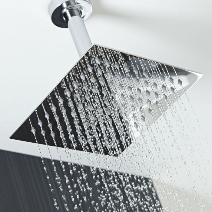 "8"" Square Shower Head with Round Ceiling Arm"