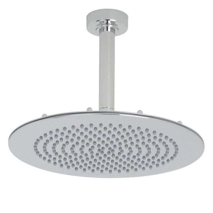 "Valquest 12"" Round Thin Shower Head with Round Ceiling Arm"