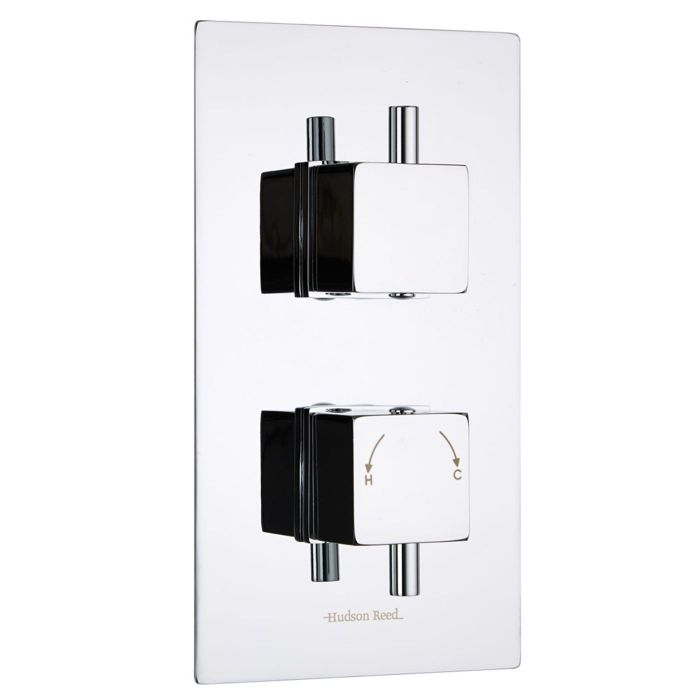 Square Concealed 2 Outlet Twin with Diverter Thermostatic Shower Valve
