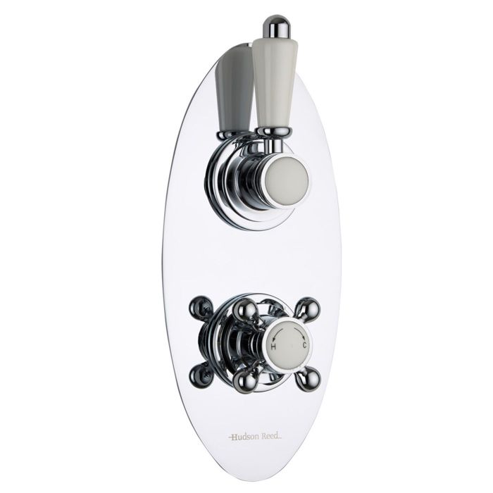 Traditional Concealed 2 Outlet Twin with Diverter Thermostatic Shower Valve (Oval Plate)