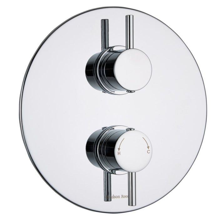 Quest Concealed 2 Outlet Twin with Diverter Thermostatic Shower Valve (Round Plate)
