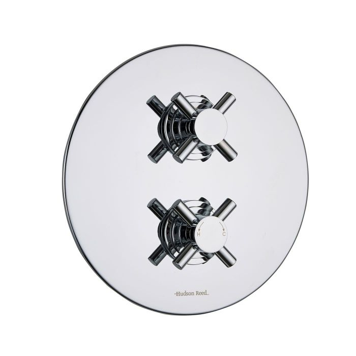 Kristal Concealed 2 Outlet Twin with Diverter Thermostatic Shower Valve (Round Plate)