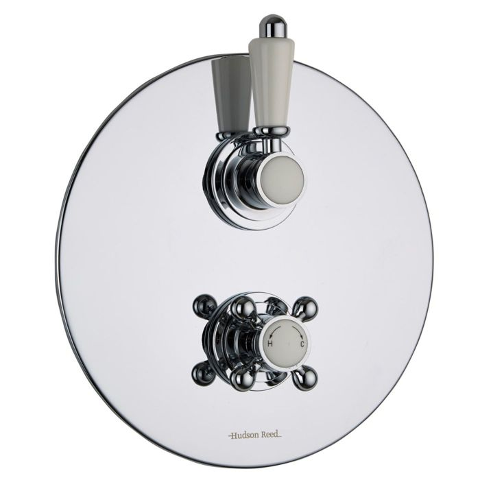 Traditional Concealed 2 Outlet Twin with Diverter Thermostatic Shower Valve (Round Plate)