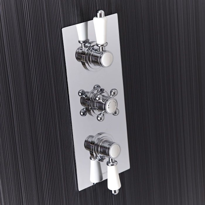 Traditional Concealed 2 Outlet Triple Thermostatic Shower Valve