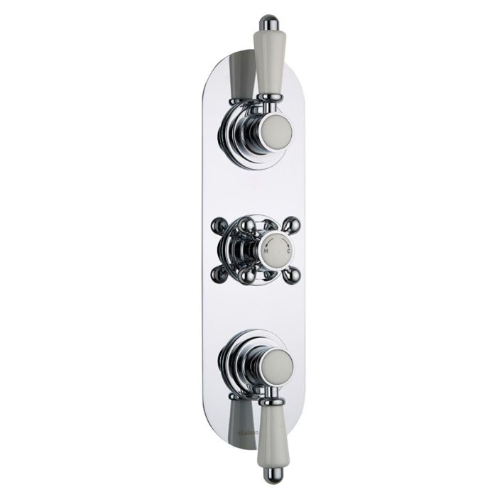 Traditional Concealed 2 Outlet Triple Thermostatic Shower Valve (Racetrack Plate)
