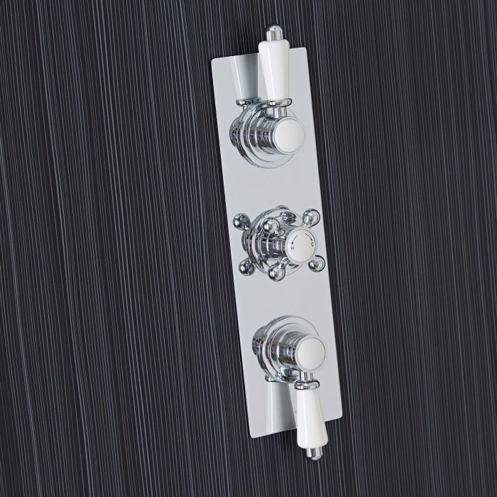 Traditional Concealed 2 Outlet Triple Thermostatic Shower Valve (Slim Plate)