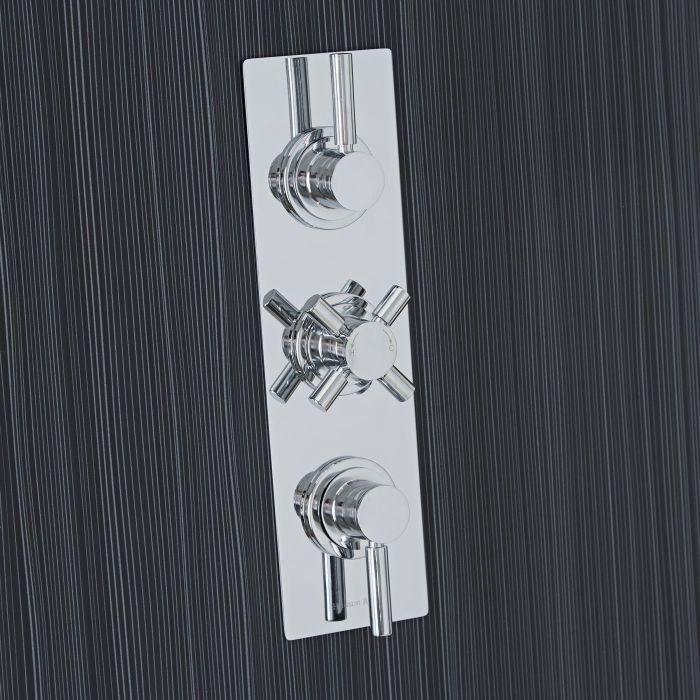 Tec Concealed 3 Outlet Triple with Diverter Thermostatic Shower Valve (Slim Plate)