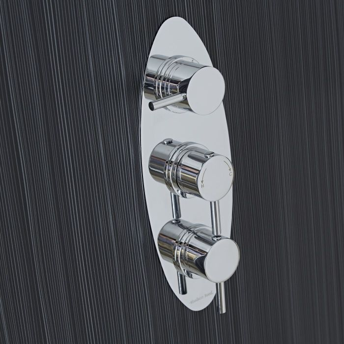 Quest Concealed 2 Outlet Triple Thermostatic Shower Valve (Oval Plate)