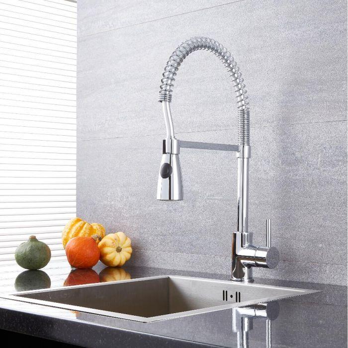Quest - Chrome Kitchen Faucet with Spring Spout